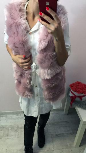 női rózsaszín szőrös mellény