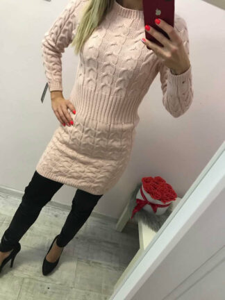 női rózsaszín kötött ruha