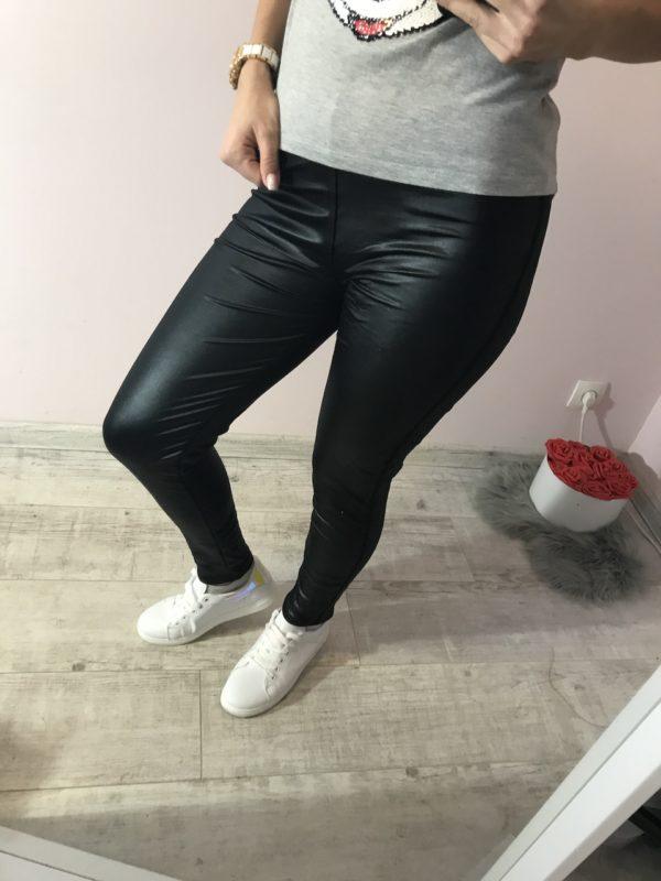 női ruha bőrhatású fekete leggings